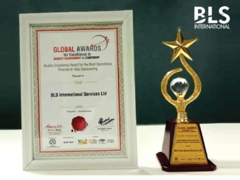 "BLS International wins Quality Excellence Award for the ""Best Operational Process in Visa Outsourcing"""